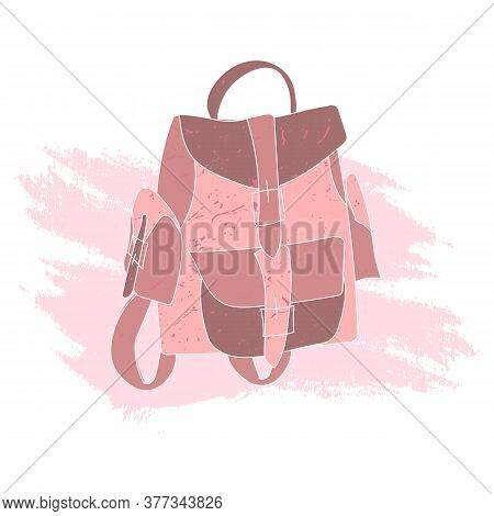 Bright Female Backpack In A Flat Style. Stylish, Trendy, Modern Hand-drawn Backpack With Strap Closu