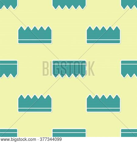 Green Sponge With Bubbles Icon Isolated Seamless Pattern On Yellow Background. Wisp Of Bast For Wash