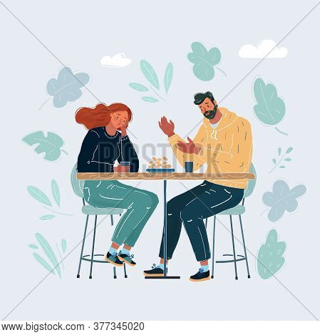 Vector Illustration Of Troubled Woman And Man Comforted By Her Friend. Yong Couple In Trouble. Human