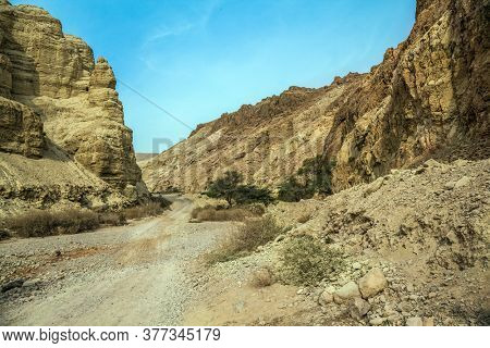 Misty winter day over the Dead Sea. Judean desert. Ancient ruined mountains of solid limestone. Dirt road through the canyon. Israel