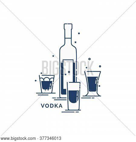 Bottle And Glass Vodka Line Art In Flat Style. Restaurant Alcoholic Illustration For Celebration Des