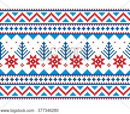 Winter, Christmas Fair Isle Style Traditional Knitwear Vector Long Vertical Seamless Pattern With Sn