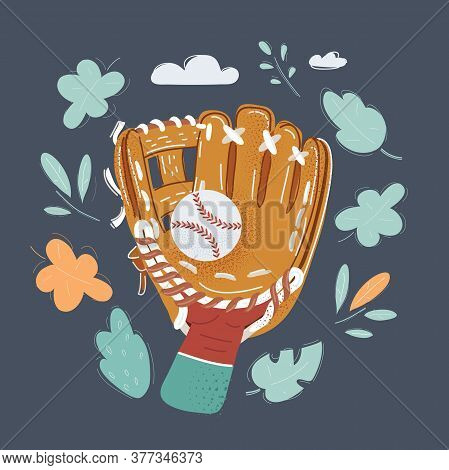 Vector Illustration Of Hand In Baseball Glove Reaching Out To Make The Catch Ball. Object On Dark Ba