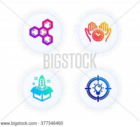 Chemical Formula, Startup And Safe Time Icons Simple Set. Button With Halftone Dots. Idea Sign. Chem