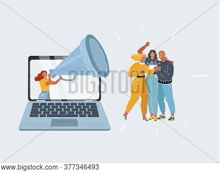 Vector Illustration Of Stressed And Desperate Woman Try To Trying To Get People S Attention. Increas