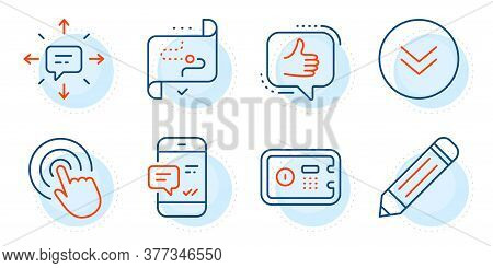 Pencil, Safe Box And Like Signs. Sms, Target Path And Smartphone Notification Line Icons Set. Scroll