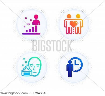 Friends Couple, Stats And Face Cream Icons Simple Set. Button With Halftone Dots. Waiting Sign. Frie