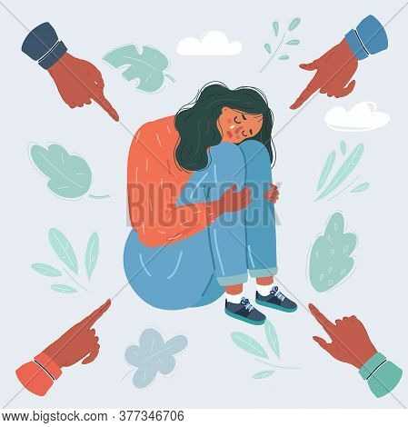 Vector Illustration Of Social Public Condemnation Of Young Woman. Many Fingers Pointing At Victim Of