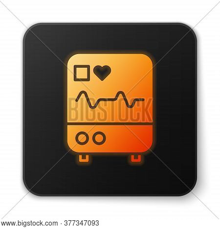 Orange Glowing Neon Computer Monitor With Cardiogram Icon Isolated On White Background. Monitoring I