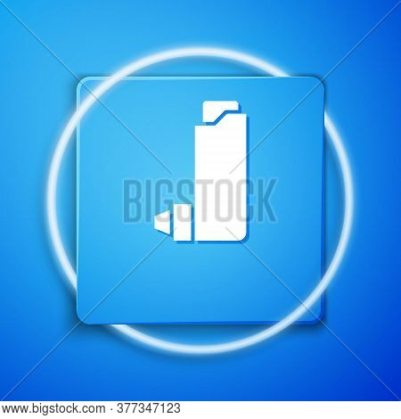 White Inhaler Icon Isolated On Blue Background. Breather For Cough Relief, Inhalation, Allergic Pati