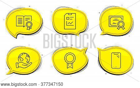 Smartphone Sign. Diploma Certificate, Save Planet Chat Bubbles. Report Document, Reward And Diploma
