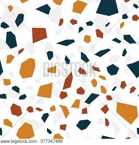 And Red Terrazzo Tile Vector Seamless Pattern. Mosaic Terrazzo Wall Wallpaper. Blue And White Terazz