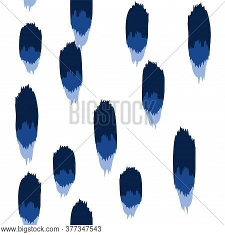 Blue Smear Vector Seamless Pattern. Hand Stripe Texture. Indigo Paper Brushstroke Pattern.