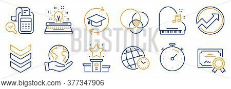 Set Of Education Icons, Such As Piano, Time Zone. Certificate, Save Planet. Continuing Education, Au