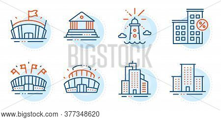 Court Building, Arena And University Campus Signs. Loan House, Arena Stadium And Lighthouse Line Ico