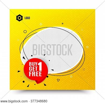 Buy 1 Get 1 Free Badge. Yellow Banner Template. Discount Banner Tag. Coupon Icon. Social Media Banne