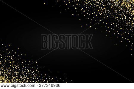 Yellow Rain Abstract Black Background. Happy Sparkle Banner. Golden Confetti Glamour Background. Sha