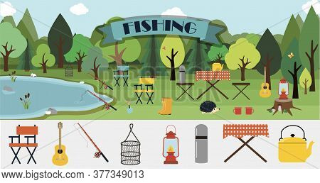 A Set Of Flat Vector Leaflets For Summer Fishing, Hiking, Picnic And Tourism. Big Banner With A Picn