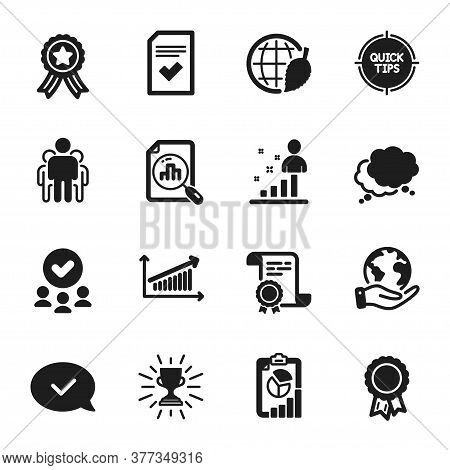 Set Of Education Icons, Such As Stats, Analytics Graph. Certificate, Approved Group, Save Planet. Ch