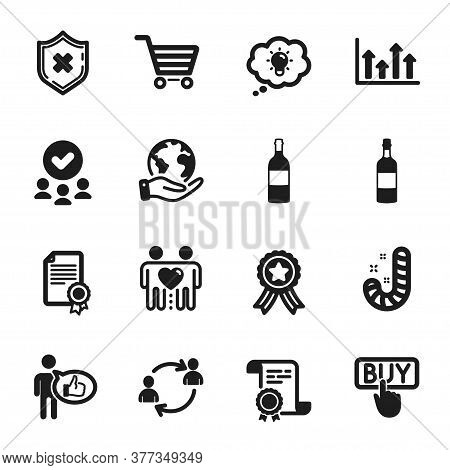 Set Of Business Icons, Such As Energy, Brandy Bottle. Certificate, Approved Group, Save Planet. Wine