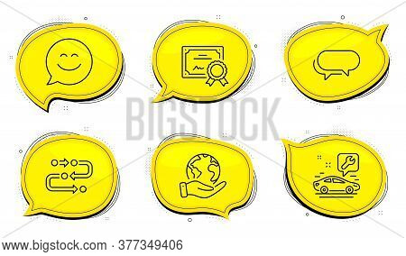 Methodology Sign. Diploma Certificate, Save Planet Chat Bubbles. Messenger, Car Service And Smile Ch