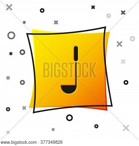 Black Kitchen Ladle Icon Isolated On White Background. Cooking Utensil. Cutlery Spoon Sign. Yellow S
