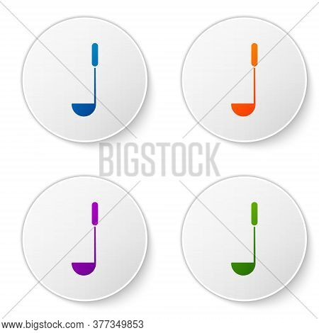 Color Kitchen Ladle Icon Isolated On White Background. Cooking Utensil. Cutlery Spoon Sign. Set Icon
