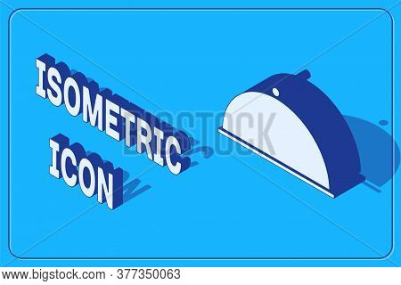 Isometric Covered With A Tray Of Food Icon Isolated On Blue Background. Tray And Lid. Restaurant Clo