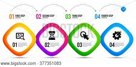 Cogwheel, Search Photo And Time Icons Simple Set. Timeline Infographic. Click Here Sign. Edit Settin