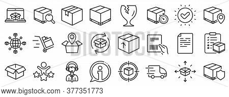 Set Of Truck Delivery, Box And Checklist Icons. Logistics, Shipping Document Line Icons. Parcel Trac