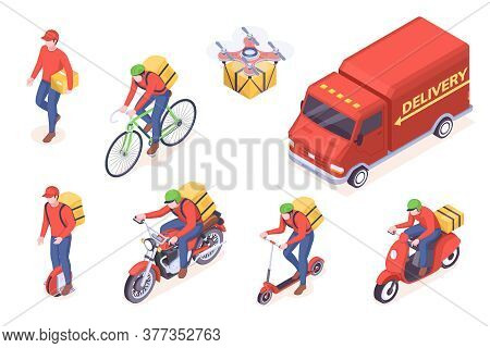 Delivery Service Transport Icons, Vector Isometric Courier Man And Trucks. Food Delivery Service Cou