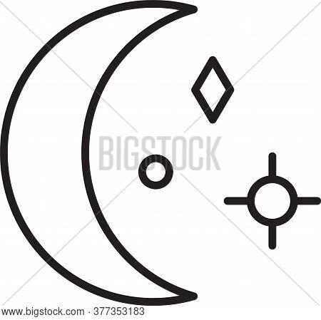 Black Line Moon And Stars Icon Isolated On White Background. Cloudy Night Sign. Sleep Dreams Symbol.