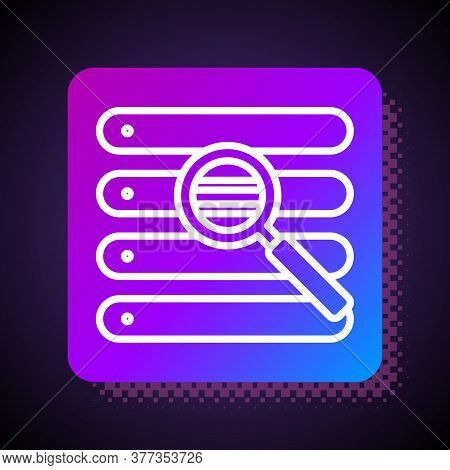 White Line Search In A Browser Window Icon Isolated On Black Background. Square Color Button. Vector