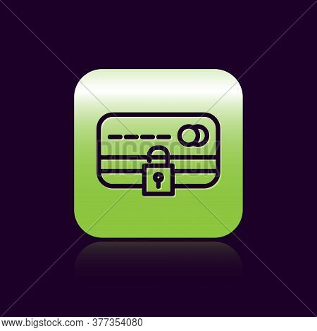 Black Line Credit Card With Lock Icon Isolated On Black Background. Locked Bank Card. Security, Safe