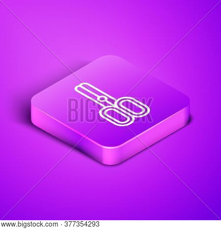 Isometric Line Scissors Hairdresser Icon Isolated On Purple Background. Hairdresser, Fashion Salon A