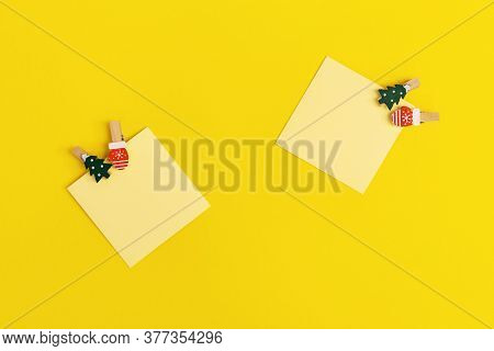 Yellow Paper Memo Notes Decorated Christmas Tree. Blank Sticky Square Reminder For Writing Wishes An