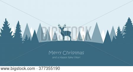 Reindeer In Snowy Winter Forest Landscape Christmas Greeting Card Vector Illustration Eps10