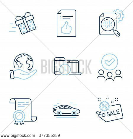Present Delivery, Approved Document And Sale Line Icons Set. Diploma Certificate, Save Planet, Group