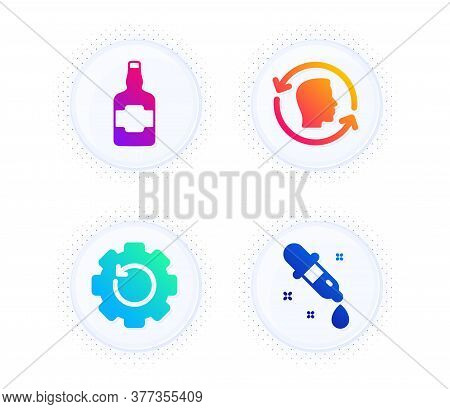 Face Id, Recovery Gear And Whiskey Bottle Icons Simple Set. Button With Halftone Dots. Chemistry Pip