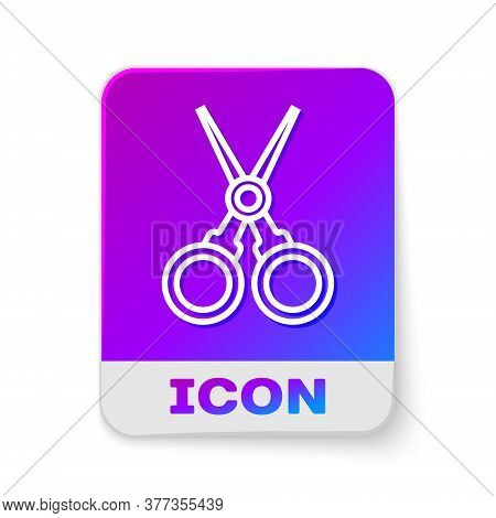 White Line Scissors Hairdresser Icon Isolated On White Background. Hairdresser, Fashion Salon And Ba