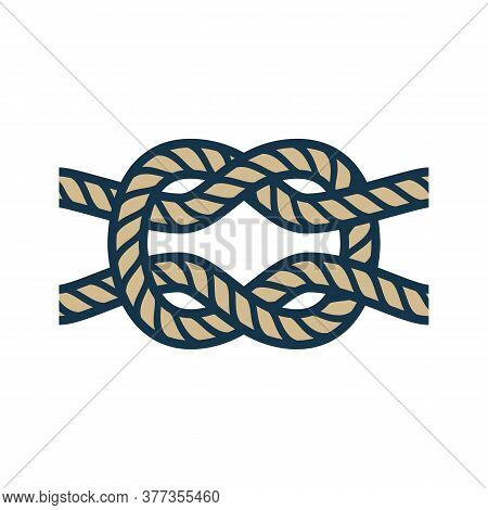 Colored Nautical Rope Knot For A Sea Ship