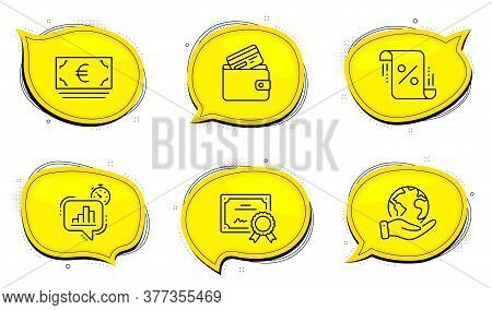 Statistics Timer Sign. Diploma Certificate, Save Planet Chat Bubbles. Debit Card, Euro Currency And