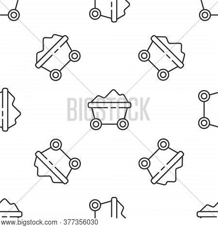 Grey Line Coal Mine Trolley Icon Isolated Seamless Pattern On White Background. Factory Coal Mine Tr