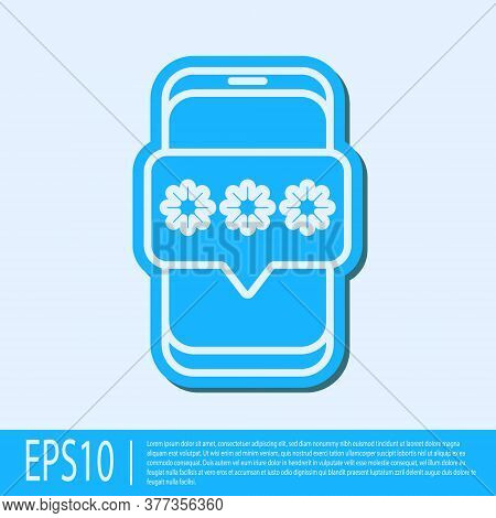 Blue Line Mobile And Password Protection Icon Isolated On Grey Background. Security, Safety, Persona