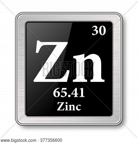 Zinc Symbol.chemical Element Of The Periodic Table On A Glossy Black Background In A Silver Frame.ve