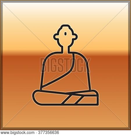 Black Line Buddhist Monk In Robes Sitting In Meditation Icon Isolated On Gold Background. Vector Ill