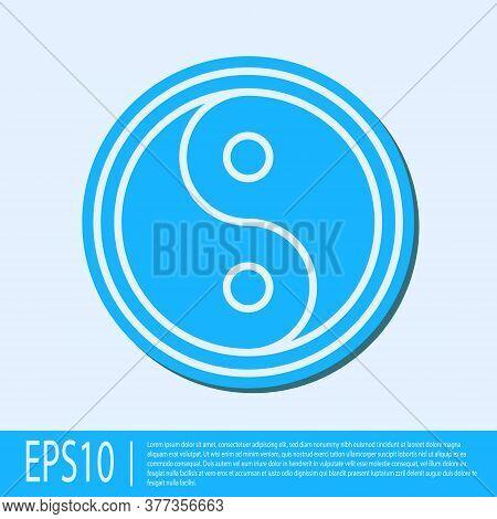 Blue Line Yin Yang Symbol Of Harmony And Balance Icon Isolated On Grey Background. Vector Illustrati