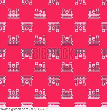 White Line Japan Gate Icon Isolated Seamless Pattern On Red Background. Torii Gate Sign. Japanese Tr