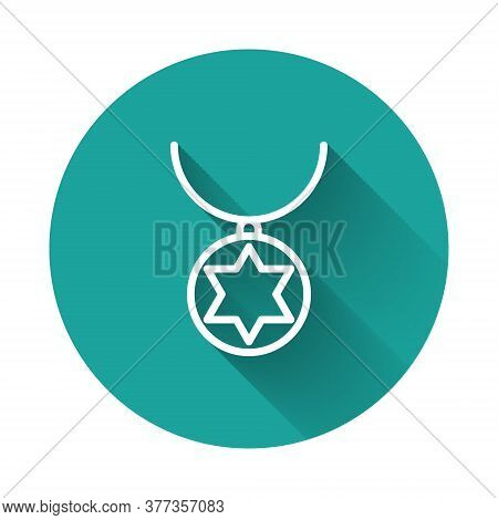 White Line Star Of David Necklace On Chain Icon Isolated With Long Shadow. Jewish Religion. Symbol O
