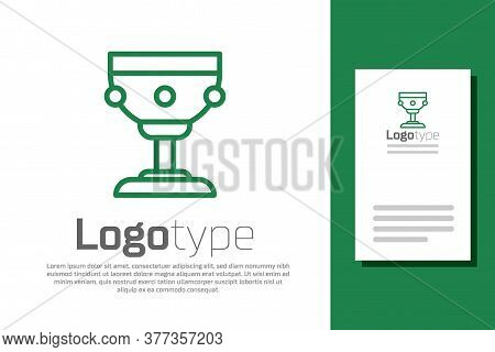 Green Line Christian Chalice Icon Isolated On White Background. Christianity Icon. Happy Easter. Log